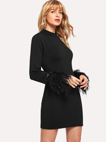 Contrast Faux Fur Cuff Pencil Dress