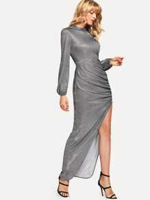 Asymmetrical Hem High Split Side Dress