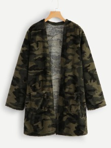 Camo Print Open Front Teddy Coat