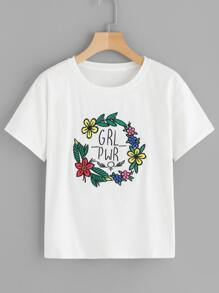 Letter & Floral Embroidered Tee