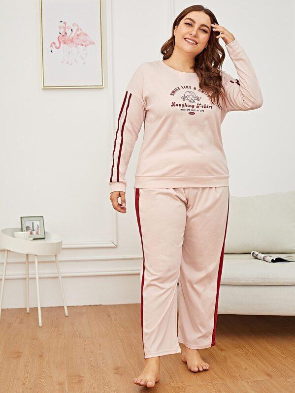 da66fa6c9e Plus Cartoon & Letter Print Pajama Set | SHEIN