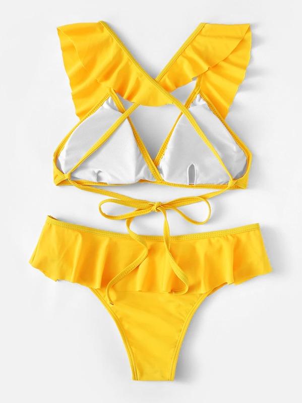 00d00d534808 Neon Yellow Tie Back Top With Flounce Bikini | SHEIN IN