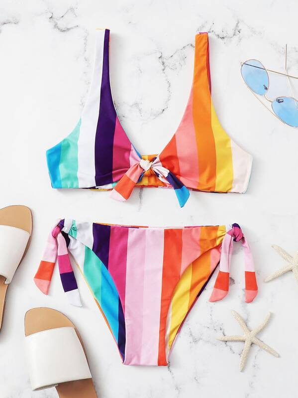 4f305477a9ed8 Striped Knot Front Top With Tie Side Bikini