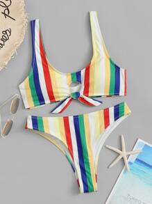 Striped Knot Front Top With Panty Bikini Set