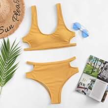 SHEIN   Cut-out Solid Bikini Set   Goxip
