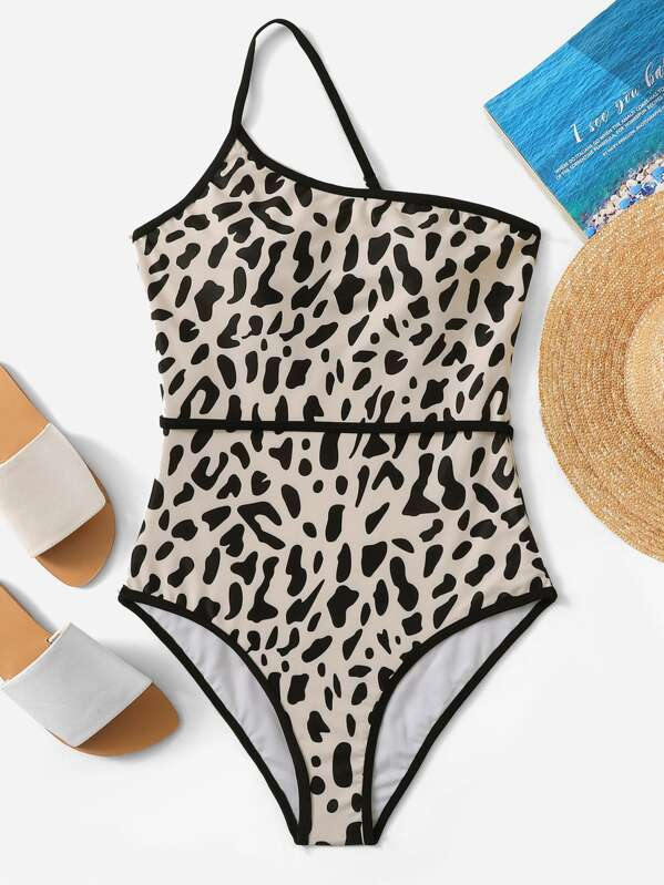 7c23300341 Random Leopard One Shoulder Swimsuit   SHEIN UK