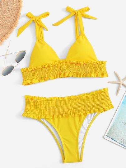 5a66c2282b Shirred Hem Self Tie Bikini Set