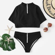 SHEIN   Zipper Front Two Piece Swimwear   Goxip