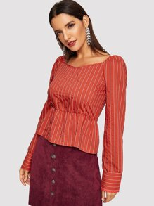 Vertical-stripe Peplum Hem Blouse