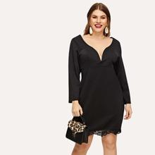 Plus Lace Insert Form Fitting Dress