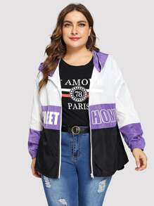 Plus Color Block Letter Print Jacket