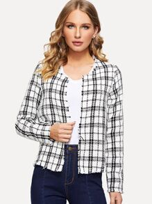 Open Front Plaid Coat