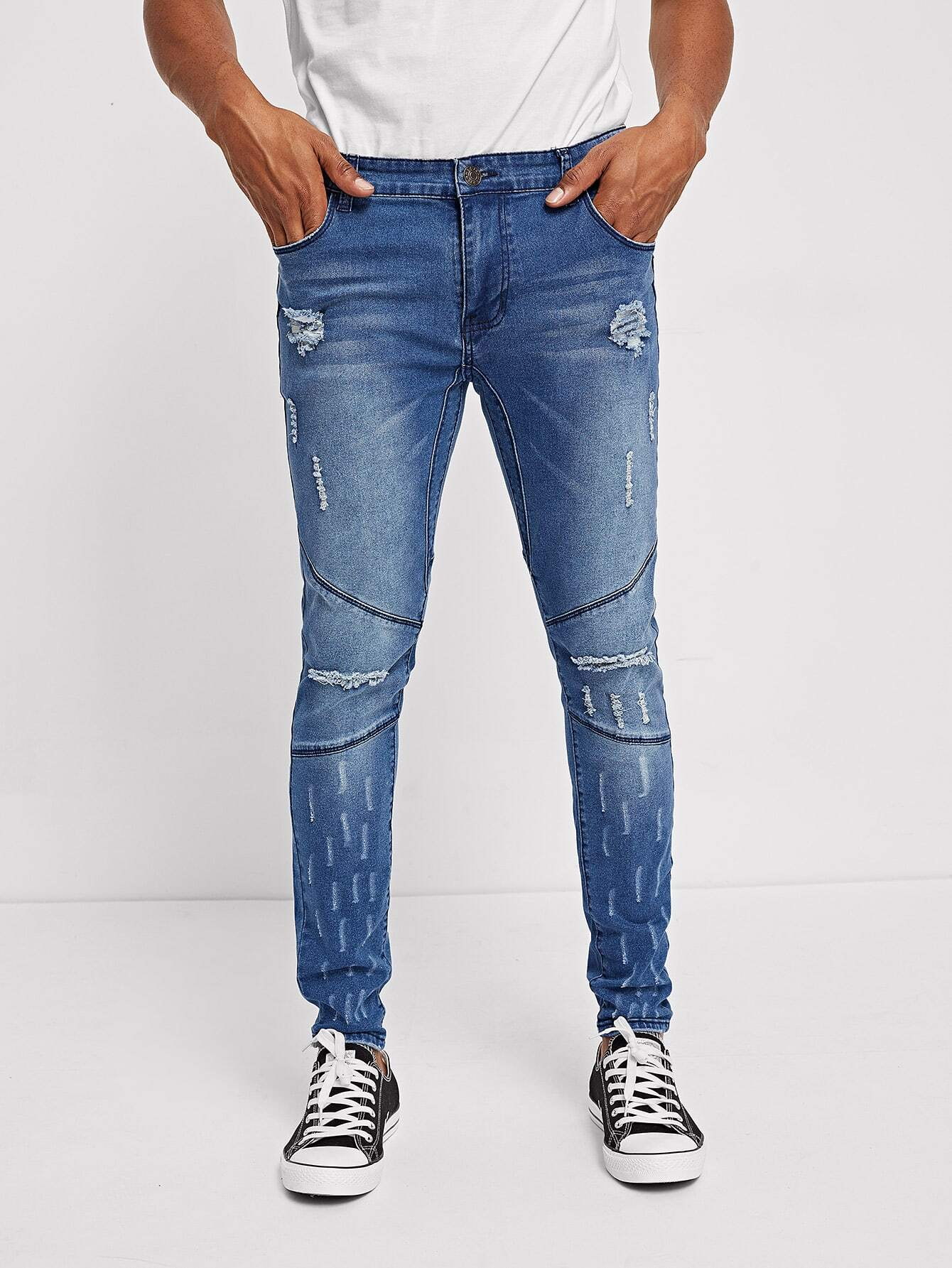 Men Ripped Detail Bleach Wash Jeans Men Ripped Detail Bleach Wash Jeans