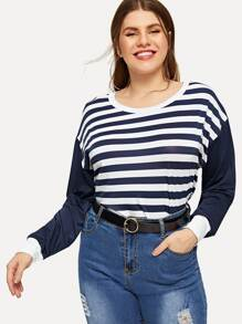 Plus Round Neck Striped Tee