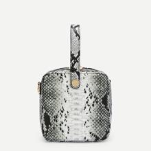 SHEIN | Snakeskin Pattern Satchel Bag | Goxip