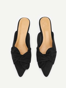Knot Decor Pointed Toe Flat Mules