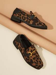 Metal Detail Leopard Print Slip On Flats