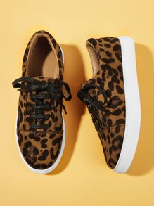 Leopard Pattern Lace-up Sneakers