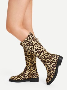 Leopard Pattern Side Zipper Boots