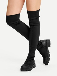 Plain Thigh High Cap Toe Boots