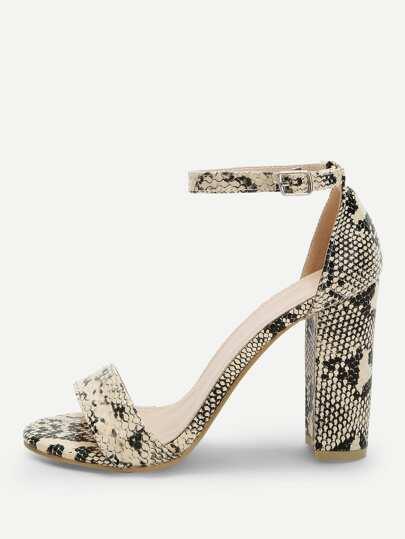 6c60dbe49 Snakeskin Pattern Ankle Strap Heels