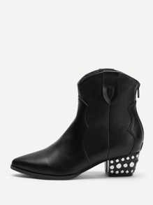 Studded Detail Zipper Back Boots