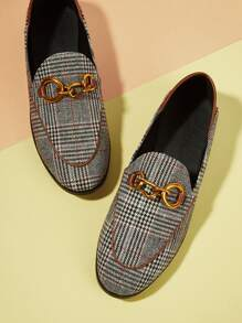 Metal Detail Houndstooth Flats