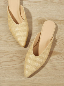 Straw Detail Pointed Toe Flat Mules