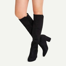 Plain Knee High Block Heeled Boots