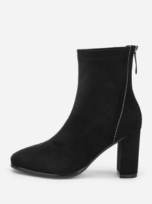 Plain Back Zipper Block Heeled Boots