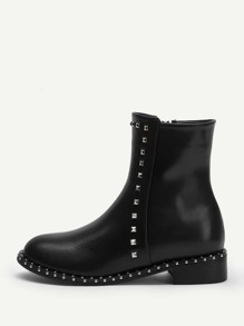 Studded Detail Zipper Side Boots