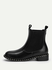Plain Studded Detail Ankle Boots