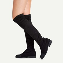 Plain Cap Toe Knee High Boots