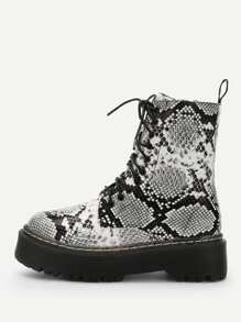 Snakeskin Print Lace-up Martin Boots