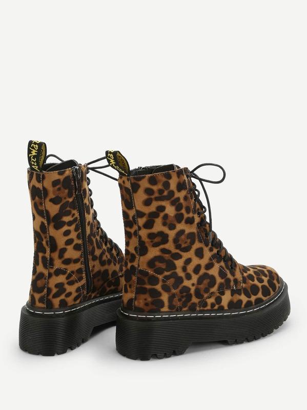fc1fc1c360e Leopard Print Lace-up Boots