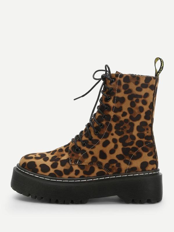 2bc128341 Leopard Print Lace-up Boots
