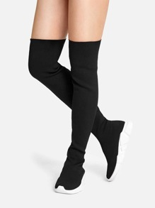 Over The Knee Knit Sneaker Boots