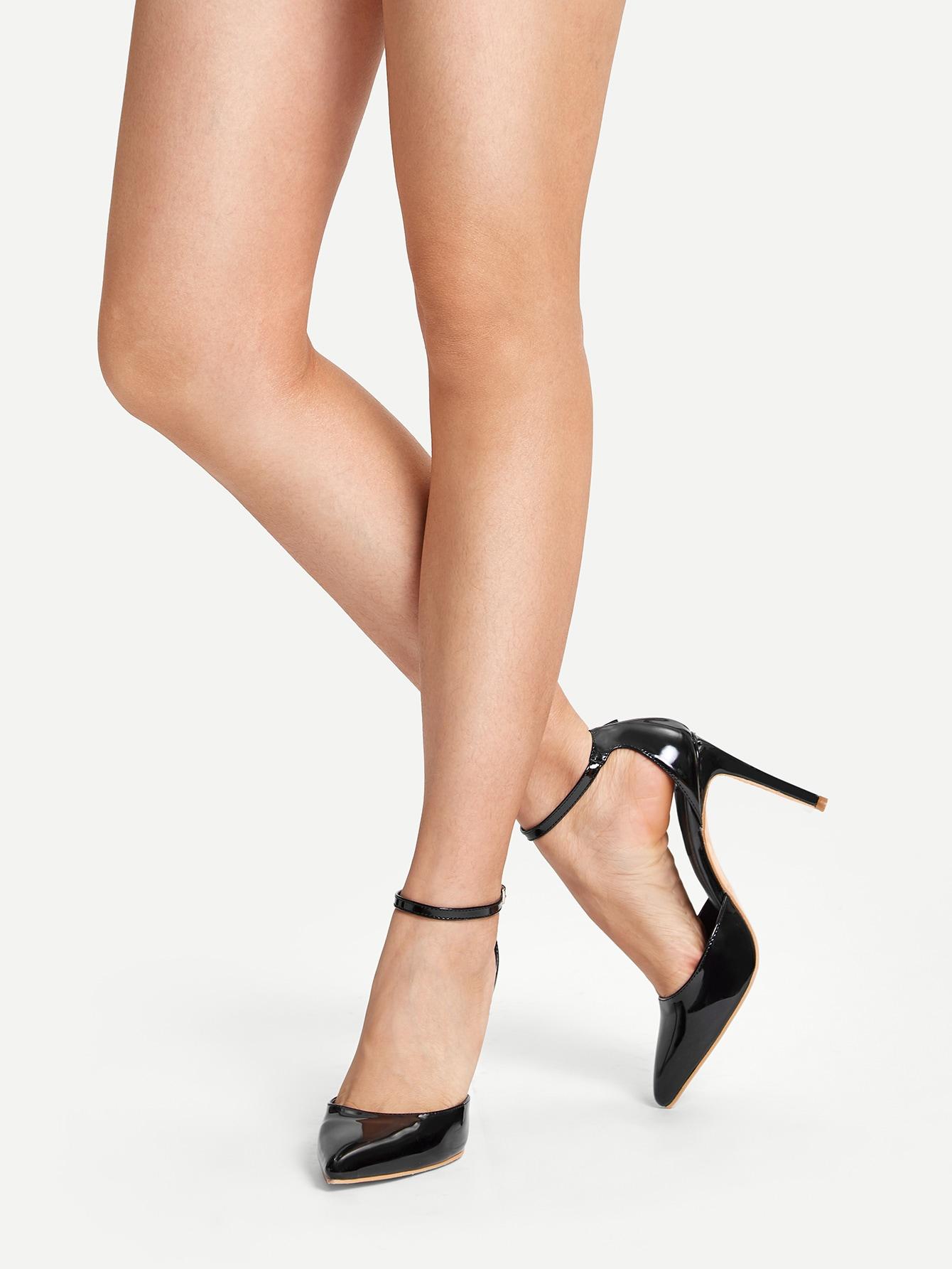 Black Faux Nubuck Diamond Cut Pointed Toe Ankle Strap
