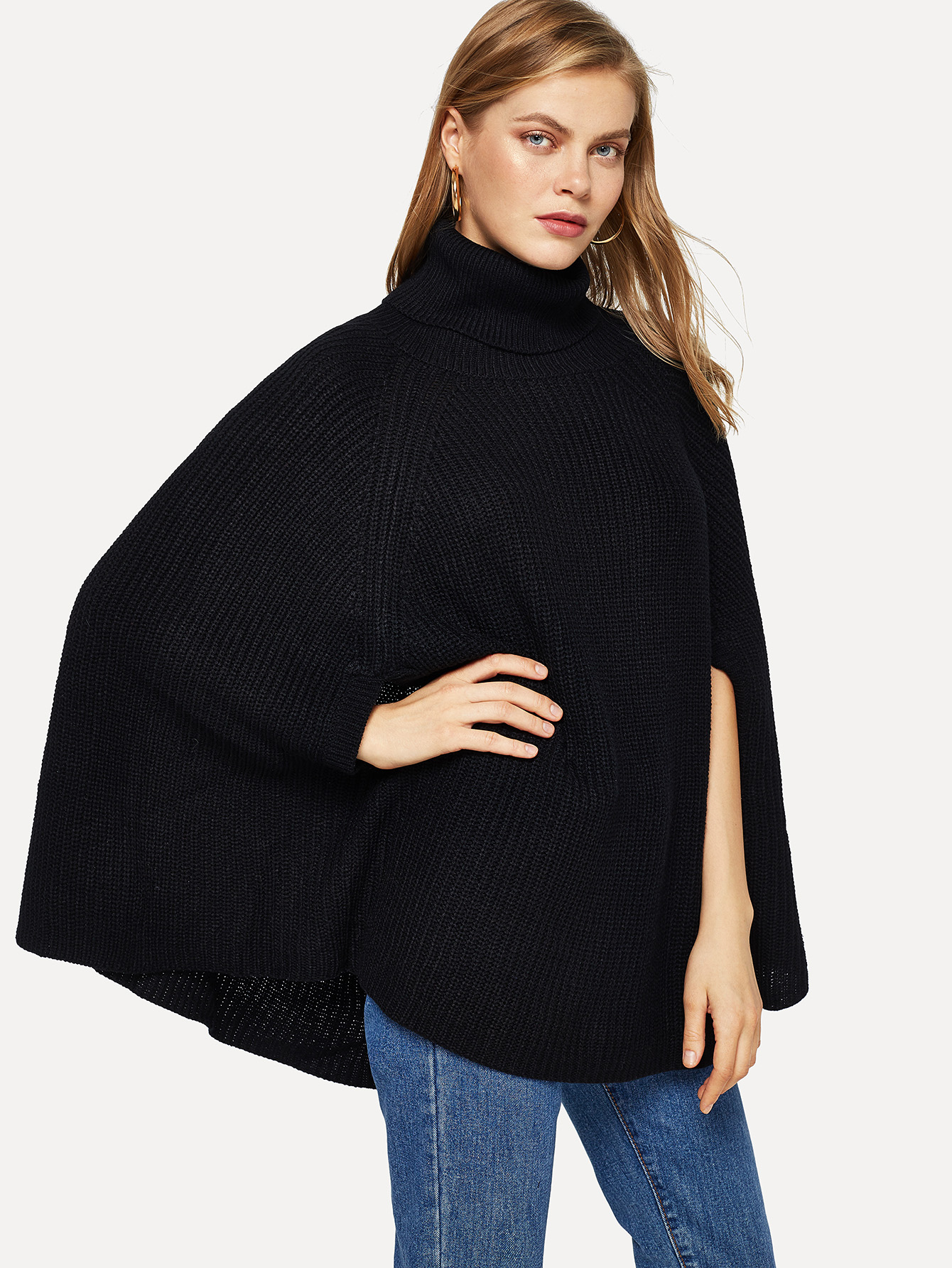 Turtle Neck Solid Cape Jumper Turtle Neck Solid Cape Jumper