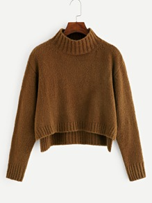 Mock-neck High Low Sweater