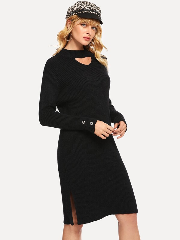 84eda28dd9 Choker Neck Split Side Rib Sweater Dress | SHEIN UK