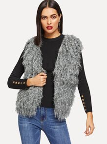 Shaggy Fringe Sweater Vest