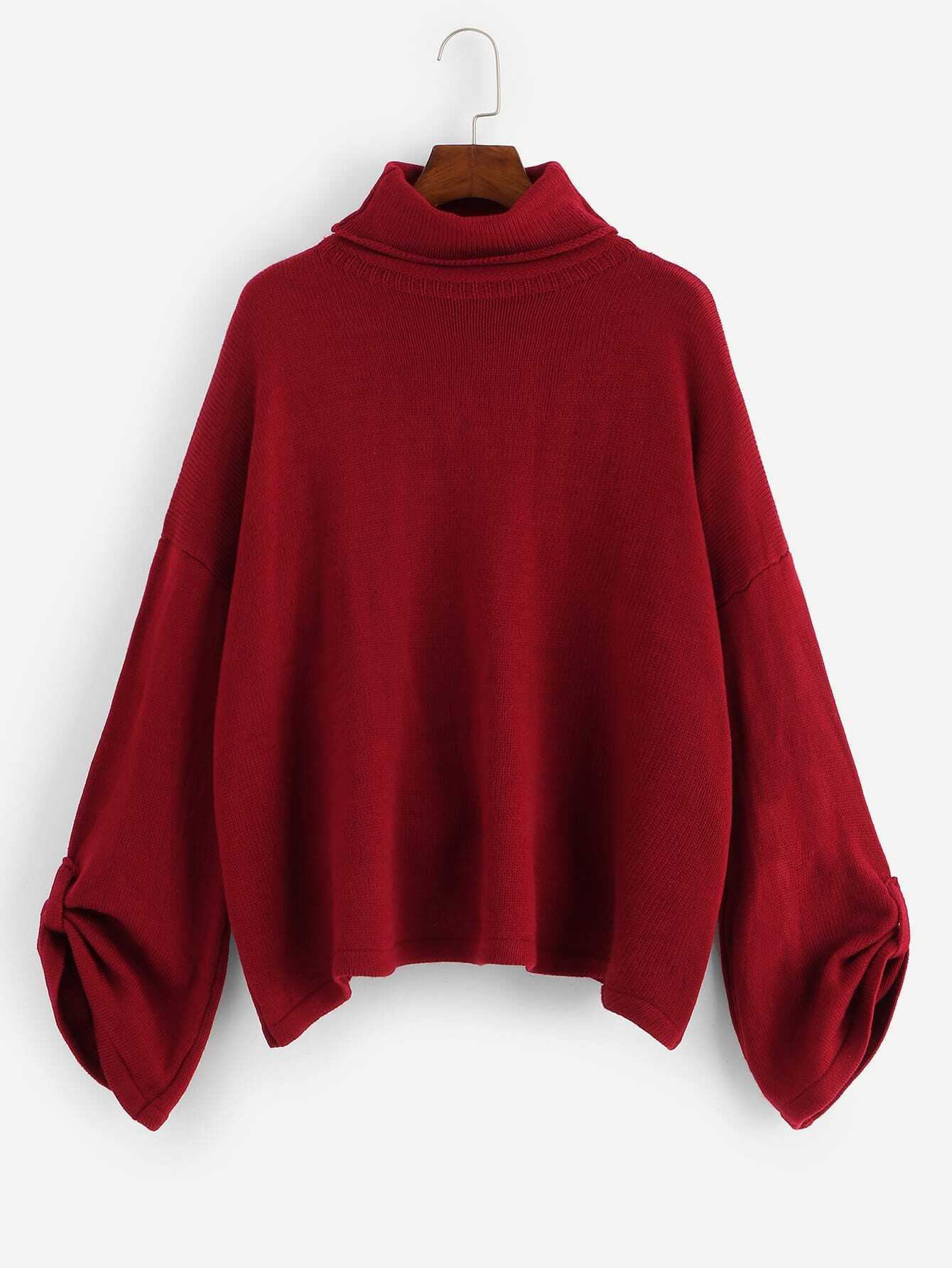 Turtle Neck Rolled Tab Sleeve Sweater Turtle Neck Rolled Tab Sleeve Sweater