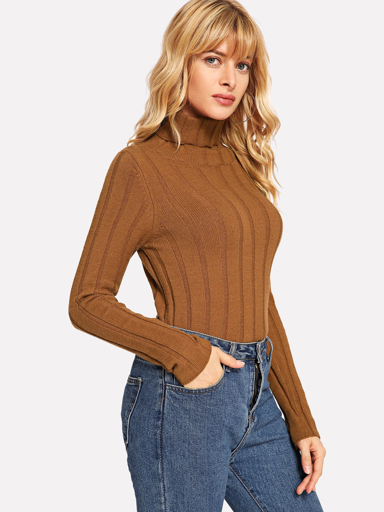 Turtle Neck Form Fitting Rib Sweater Turtle Neck Form Fitting Rib Sweater