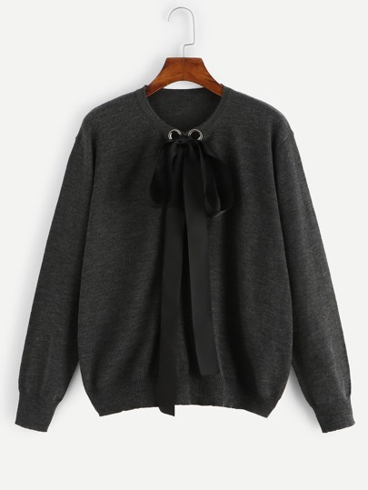 Plus Bow Tie Front Heathered Knit Jumper