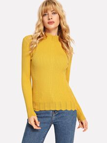 Mock-neck Scallop Edge Rib Fitting Jumper