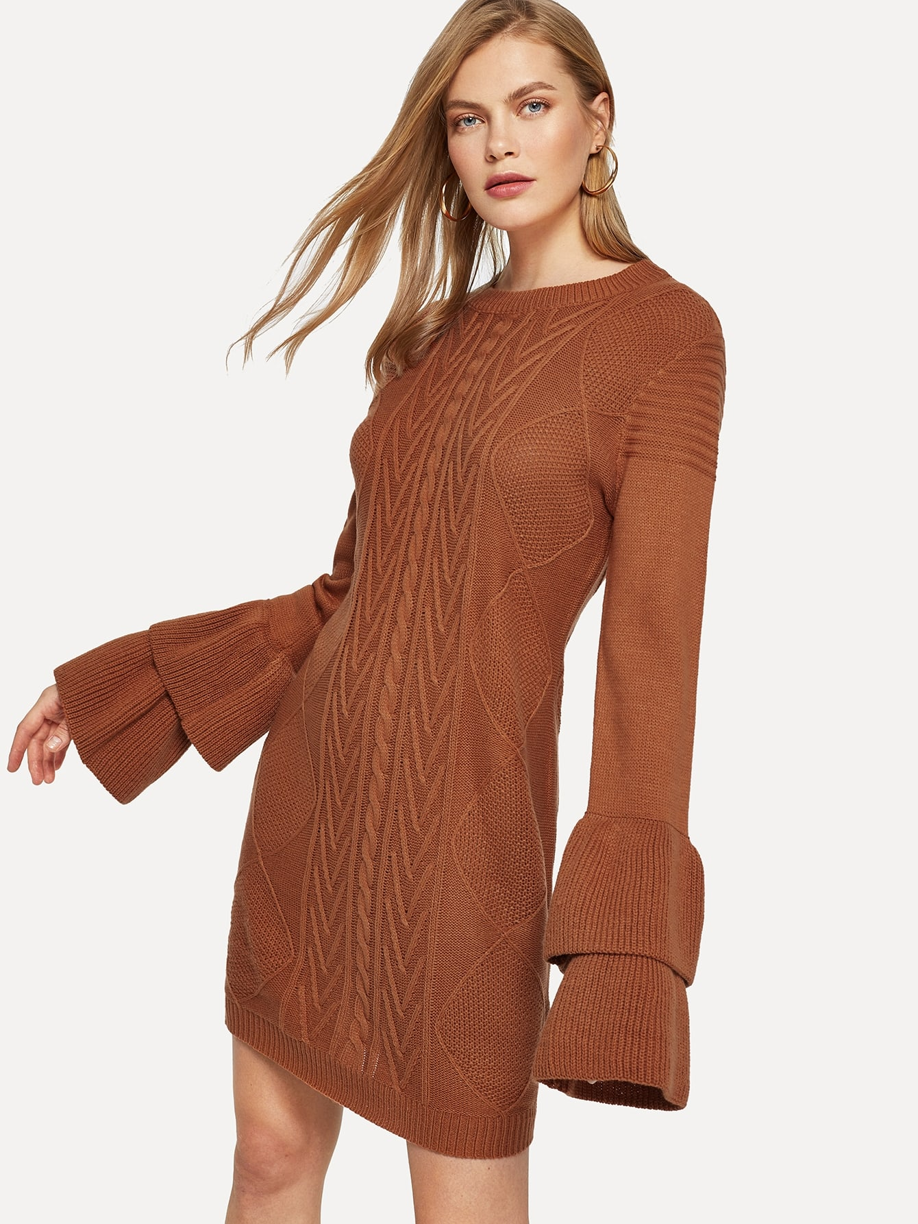 Layered Flounce Sleeve Mixed Knit Sweater Dress Layered Flounce Sleeve Mixed Knit Sweater Dress