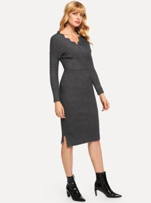 Surplice Neck Split Side Sweater Dress