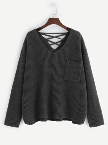 Plus Pocket Patched Lace-up Back Jumper