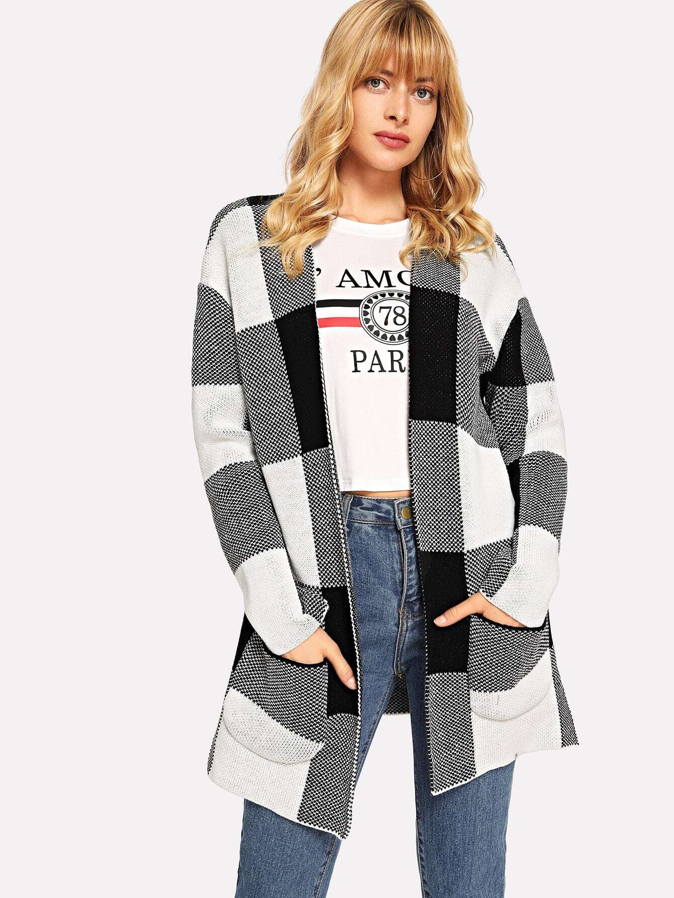 Pocket Front Plaid Cardigan Pocket Front Plaid Cardigan